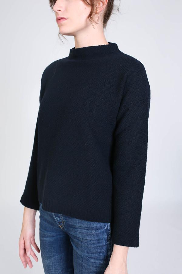 Evam Eva Wool Cashmere Stand Pullover in Navy