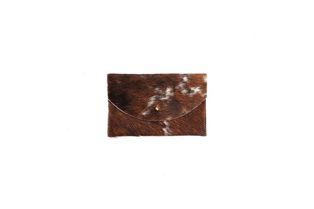Primecut BROWN COWHIDE PASSPORT CLUTCH