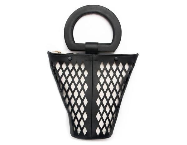 Modern Weaving Leather Net Basket Bag