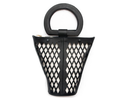 Modern Weaving Leather Net Basket Bag