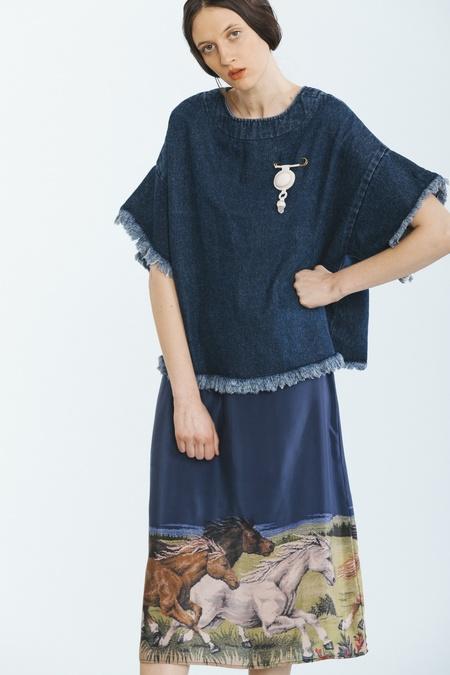 Carleen Midi Slip Skirt - Horses