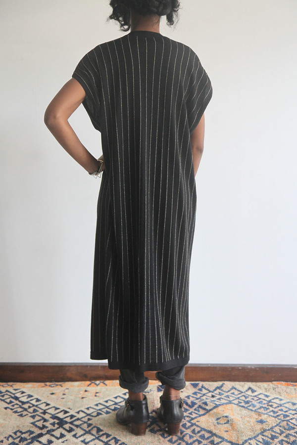 SomeLikeUs Vintage Metallic Stripe Long Knit Vest