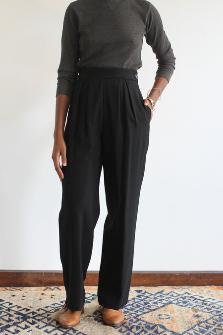 SomeLikeUs Vintage High Waist Wool Crepe Pleat Slacks