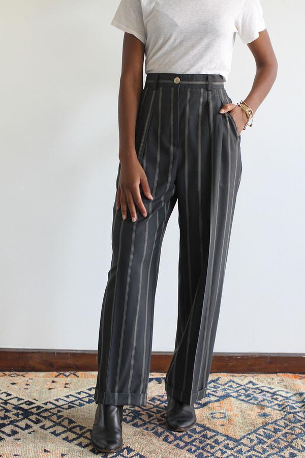 SomeLikeUs Vintage Laurel Wool Pin-Stripe Slacks