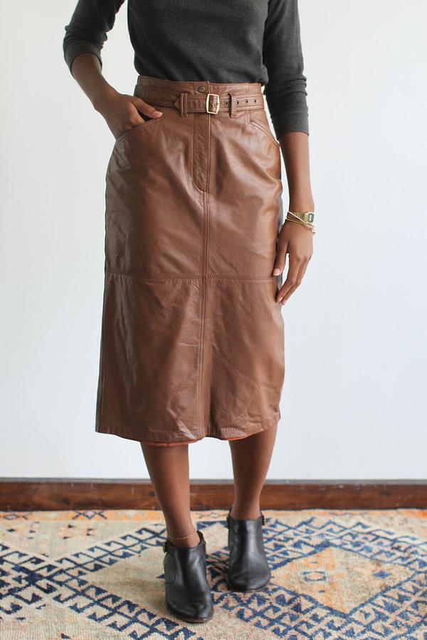 RAWSON Vintage Caramel Leather Pencil Skirt