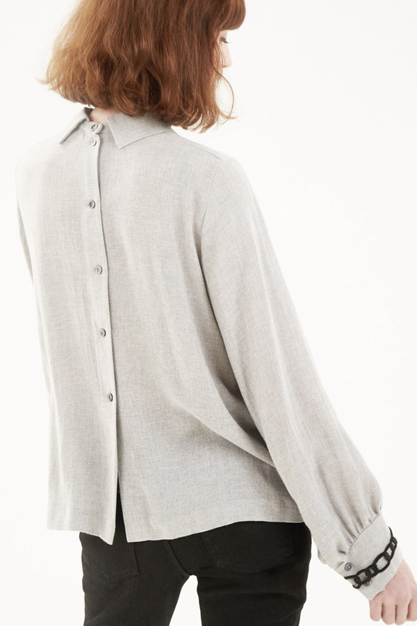 Kitsune Wool Mae Flowing Blouse I Grey