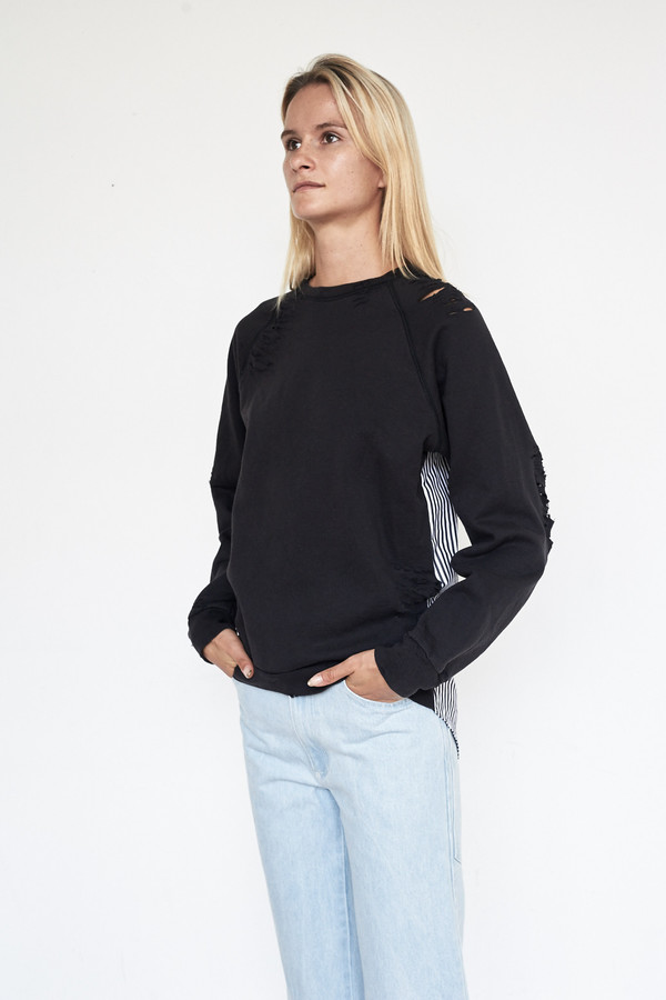 Lyz Olko Cotton L/S Crewneck - Black Stripe