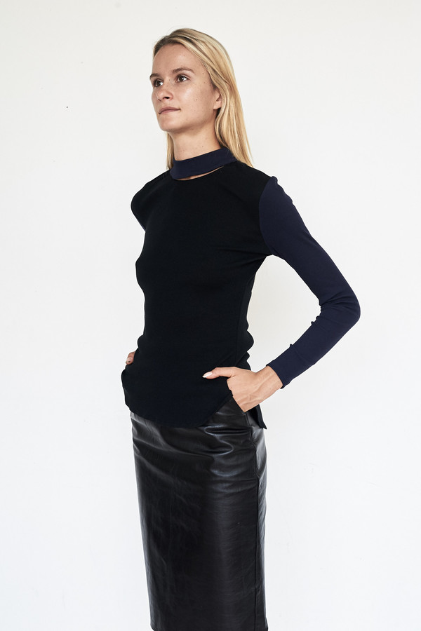 Tosia Ribbed Knit Illusion Turtleneck