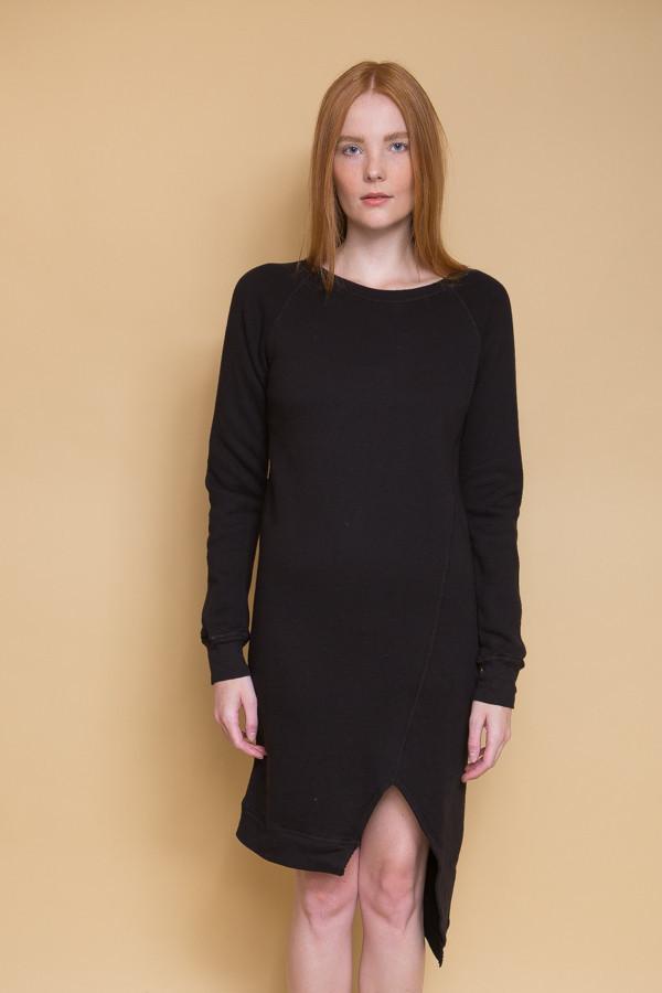 OAK Long Split Front Pullover / Black