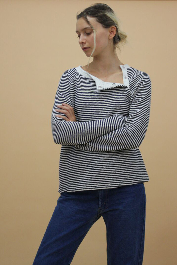 Calder Blake Neil Stripe French Terry Pullover
