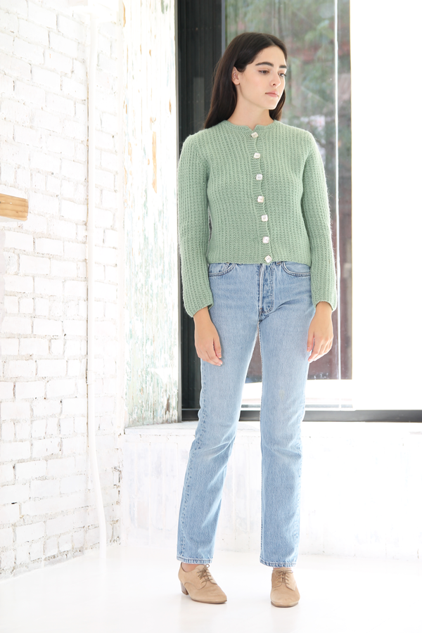 DUO NYC Vintage Cropped Knit Cardigan