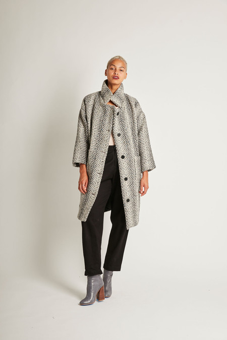 H. Fredriksson Kate Coat in Grey Tweed Wool