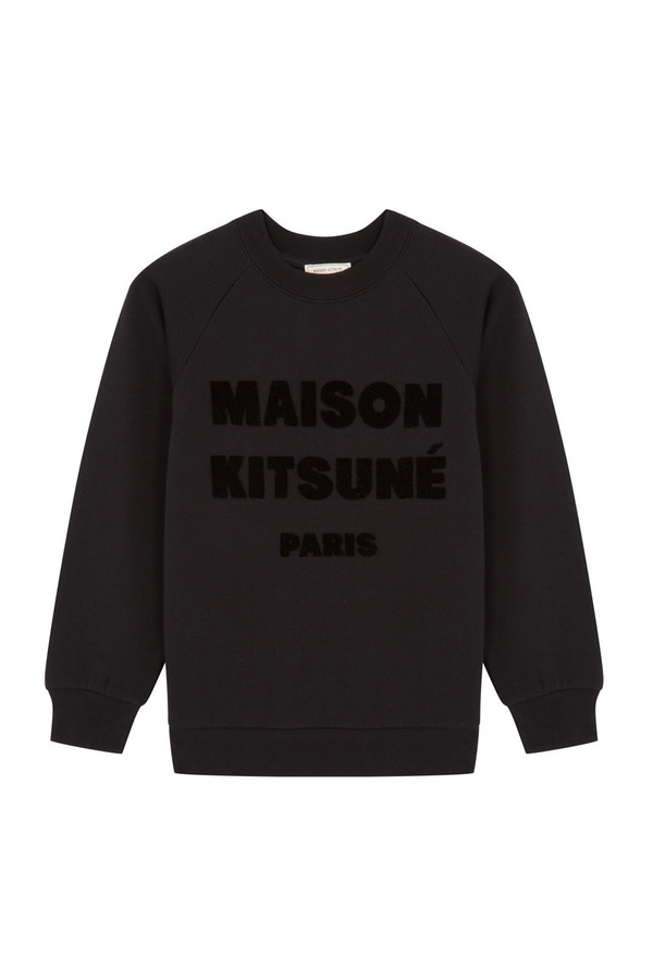 Kitsune Sweat Shirt Hair Print I Black