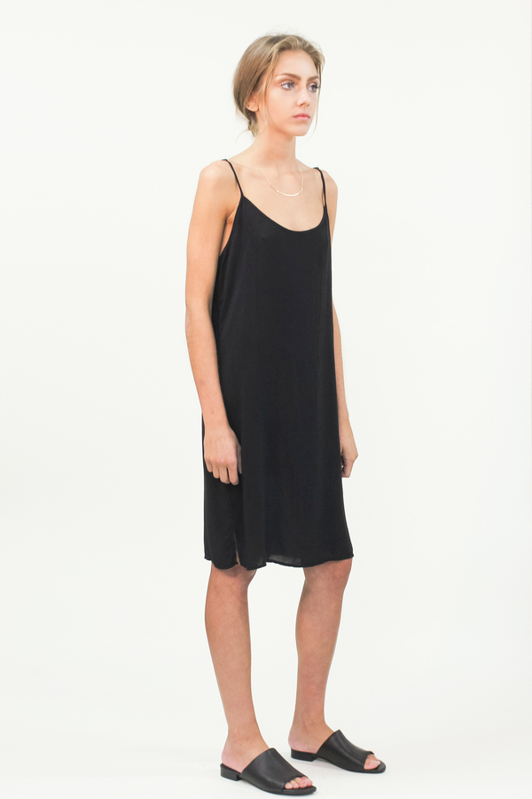 LACAUSA Easy Slip Dress- Black