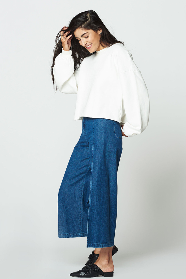 LACAUSA Cropped Pullover Top- Bone