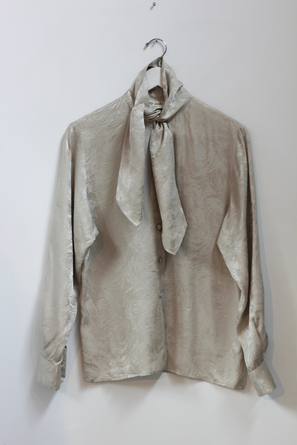 Hey Jude Sandstone Metallic Silk Blouse