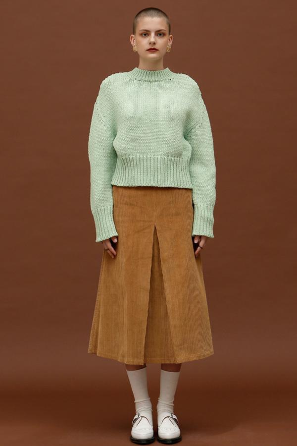 ROCKET LUNCH Twist Cropped Knit- Mint