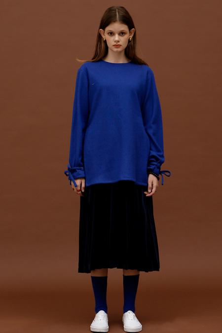 ROCKET LUNCH Velvet Pleated Skirt- Navy