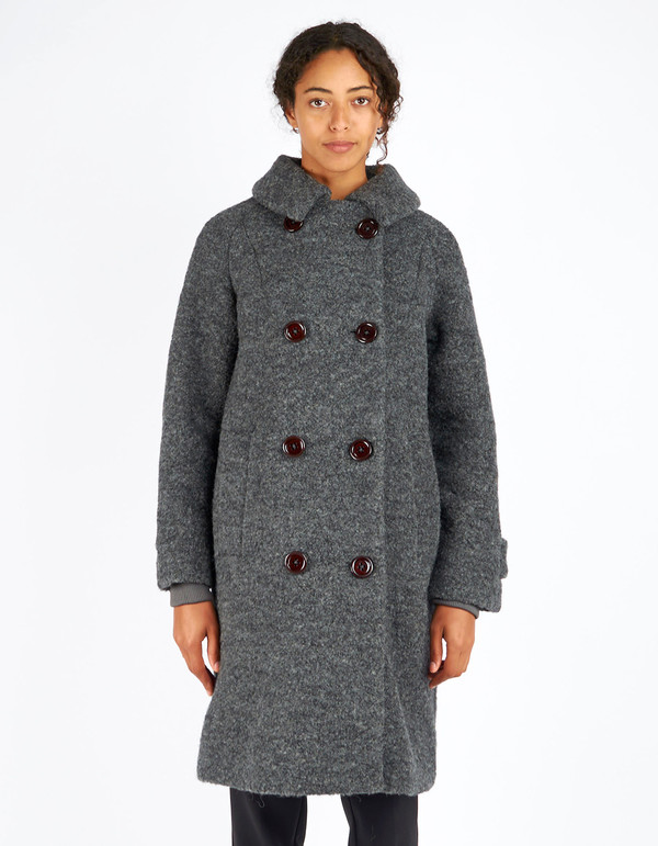 Ganni Fenn Double Breasted Coat Smoked Pearl Melange
