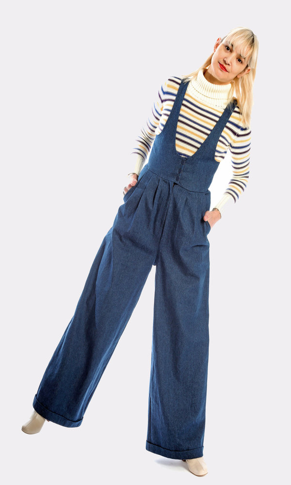 Kurt Lyle Olivia Suspender Pant in Dark Denim