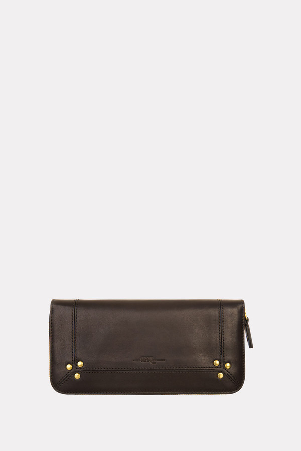 Jerome Dreyfuss Malcolm zip wallet in black/brass