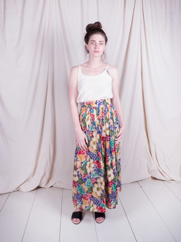 Woods Vintage Floral Wrap Maxi Skirt