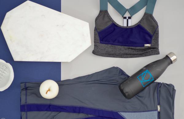 VPL Neo Gridlock Bra: Charcoal Marl x Blue