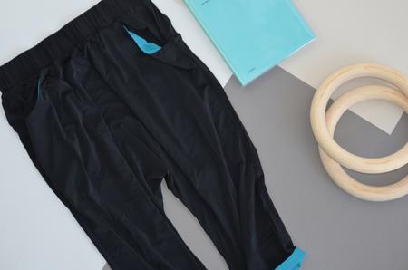VPL Tracking Pants: Black & Turquoise