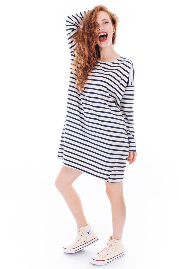 Kowtow Building Block Relaxed Tee Dress (Navy Natural Stripe)