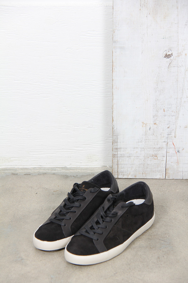 Golden Goose SUPERSTAR BESPOKE SNEAKER IN BLACK SUEDE WITH LEATHER STAR