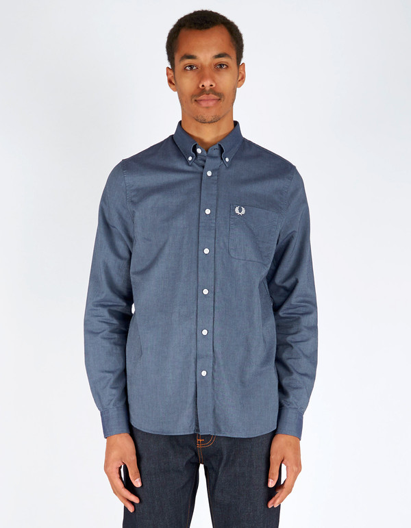 Men's Fred Perry Classic Oxford Shirt Dark Carbon