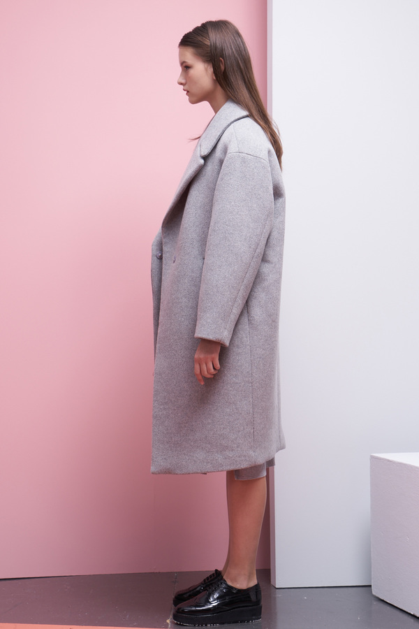 LOOKAST Oversized Long Wool Coat- Gray