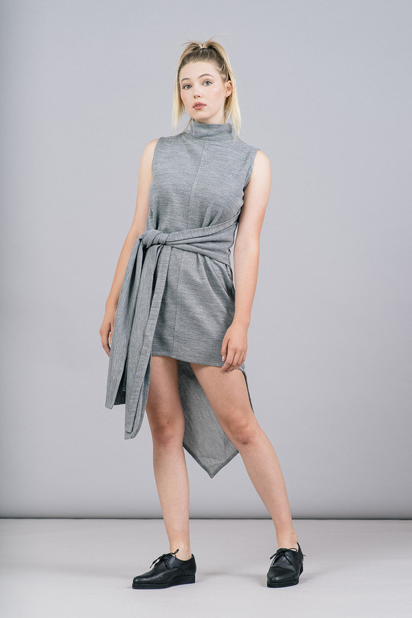 House of Sunny Asymmetric Rib Dress With High Neck
