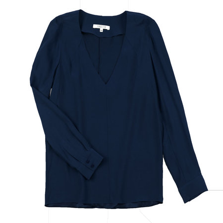 Vincetta Navy V-neck Blouse