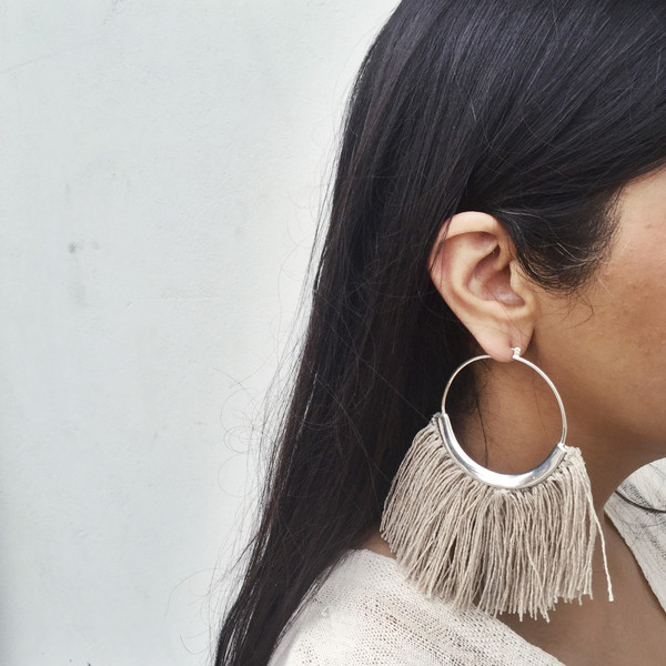 Erin Considine Ridge Fringe Hoops in Raw Flax