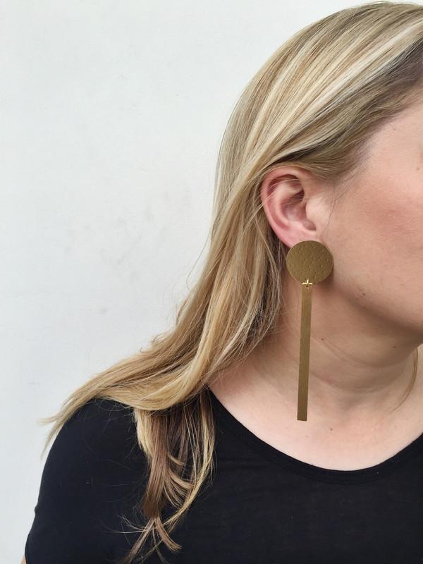 Modern Weaving Sun Dial Earrings in Brass