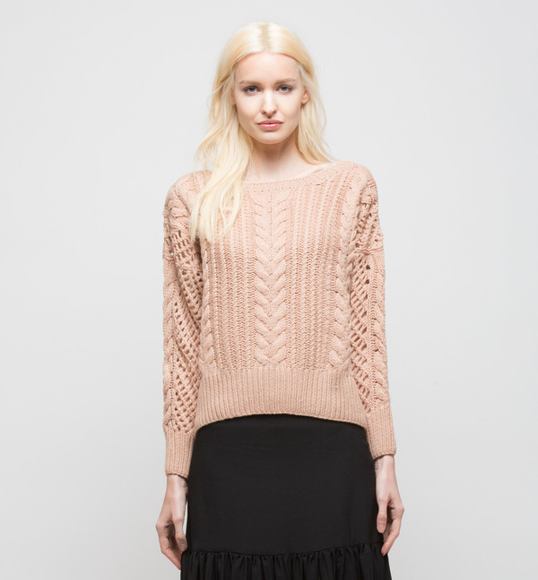 Ryan Roche Cropped Sweater Rose