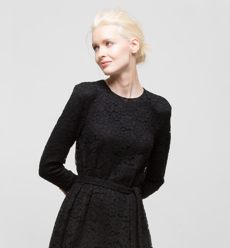Ryan Roche Long-Sleeved Black Lace Dress