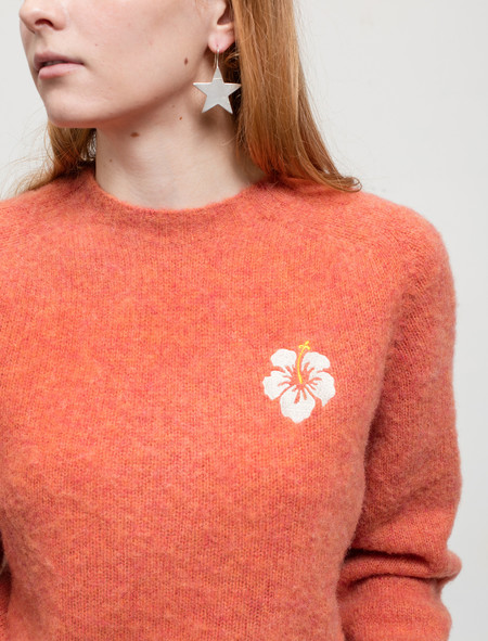 Trademark Embroidered Shetland Sweater Peach