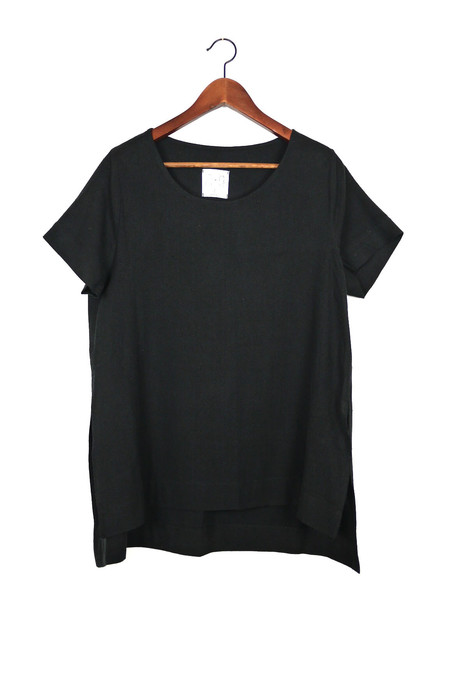 Jamie + The Jones Split Tee, Black Raw Silk