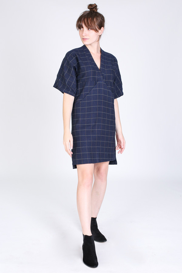 SBJ Austin Kelly dress in navy windowpane