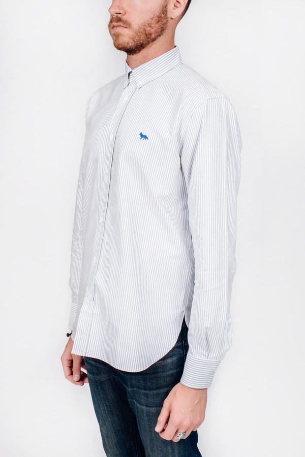 Men's Maison Kitsune Oxford Striped Classic Shirt