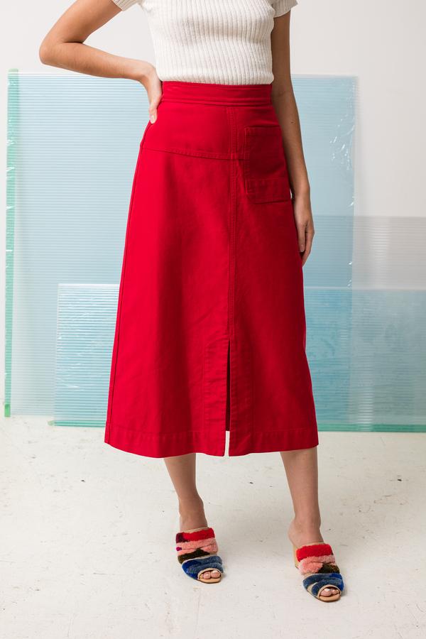 Caron Callahan Georgia Skirt - crimson twill