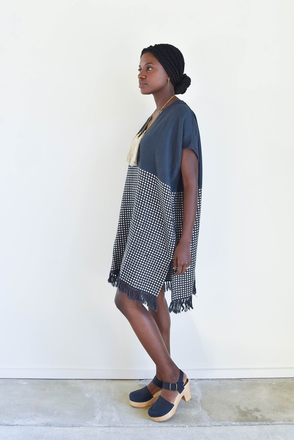 LemLem Tolo Woven V Neck Dress in Storm