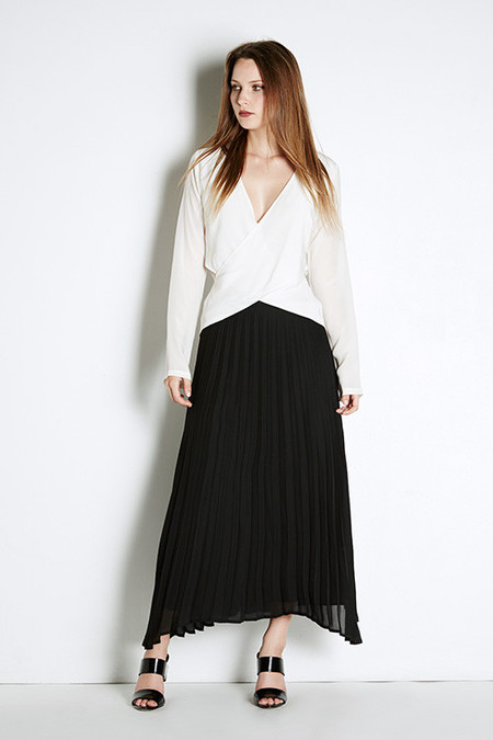 Myne Slate Pleated Skirt