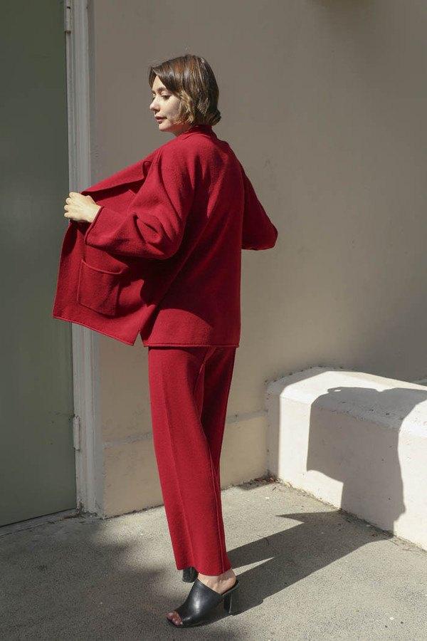 giu giu La Grenade Double Knit Blazer in Pomegranate