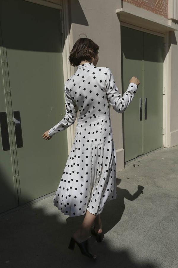Maryam Nassir Zadeh Ana Tie Front Dress in Black/White Polka Dot