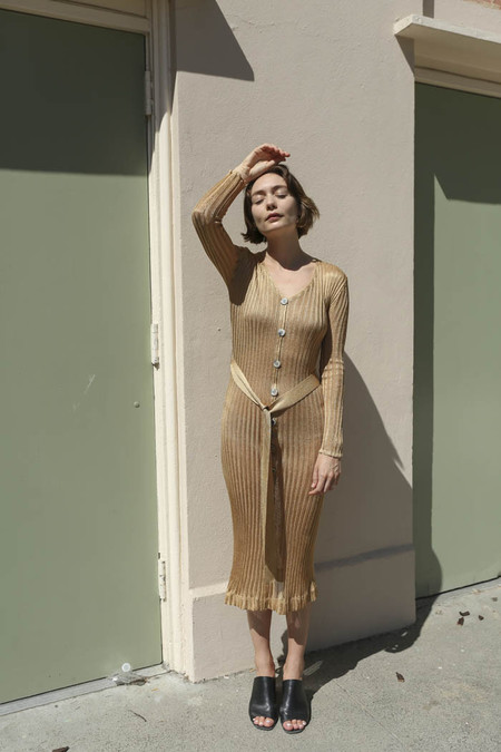 Maryam Nassir Zadeh Paris Knit Dress in Tan