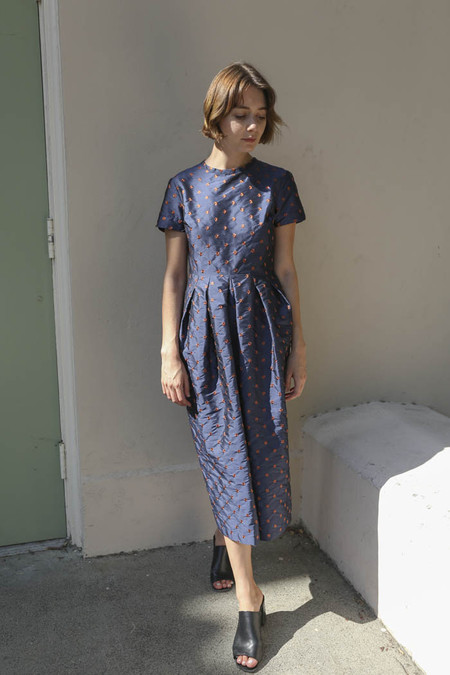 Nikki Chasin Marta Pleat Dress in Navy/Ochre