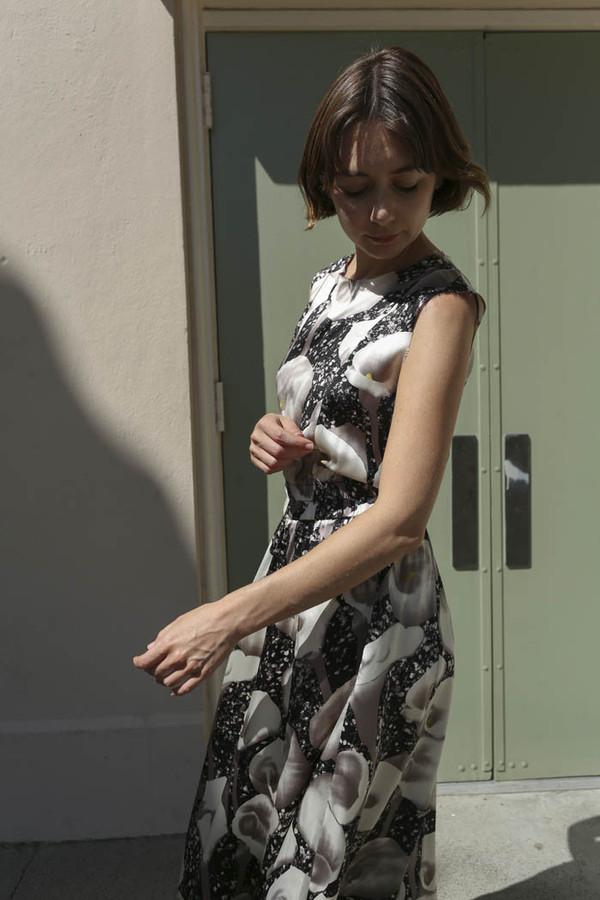 No.6 Colven Dress in Black/White Calla Charmeuse